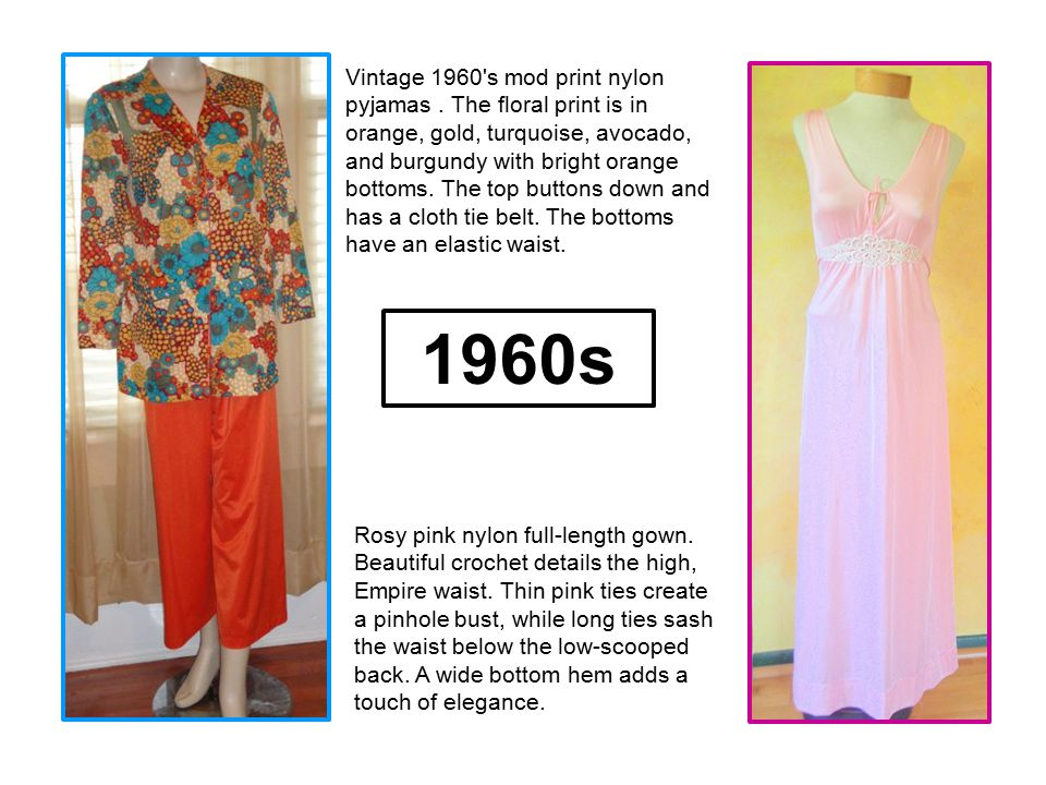 Vintage 1960's mod print nylon pyjamas. The floral print is in orange, gold, turquoise, avocado, and burgundy with bright orange bottoms. The top butt