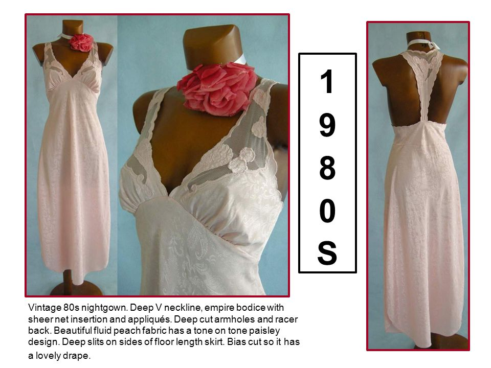 Vintage 80s nightgown. Deep V neckline, empire bodice with sheer net insertion and appliqués. Deep cut armholes and racer back. Beautiful fluid peach
