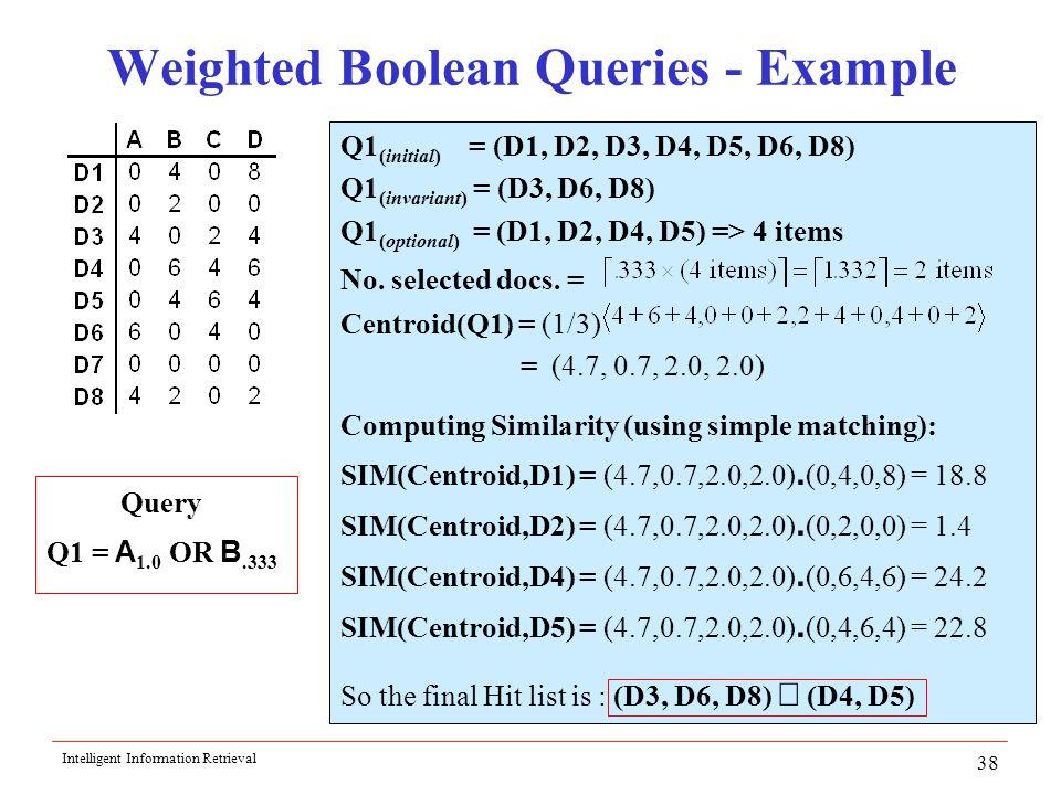 Intelligent Information Retrieval 38 Weighted Boolean Queries - Example Q1 (initial) = (D1, D2, D3, D4, D5, D6, D8) Q1 (invariant) = (D3, D6, D8) Q1 (