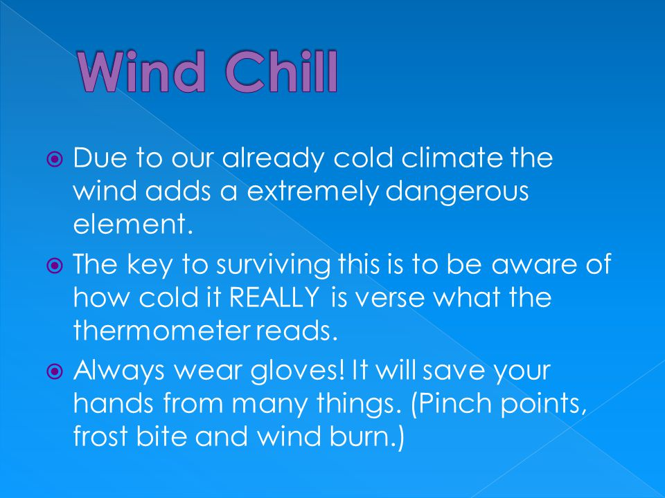  Due to our already cold climate the wind adds a extremely dangerous element.