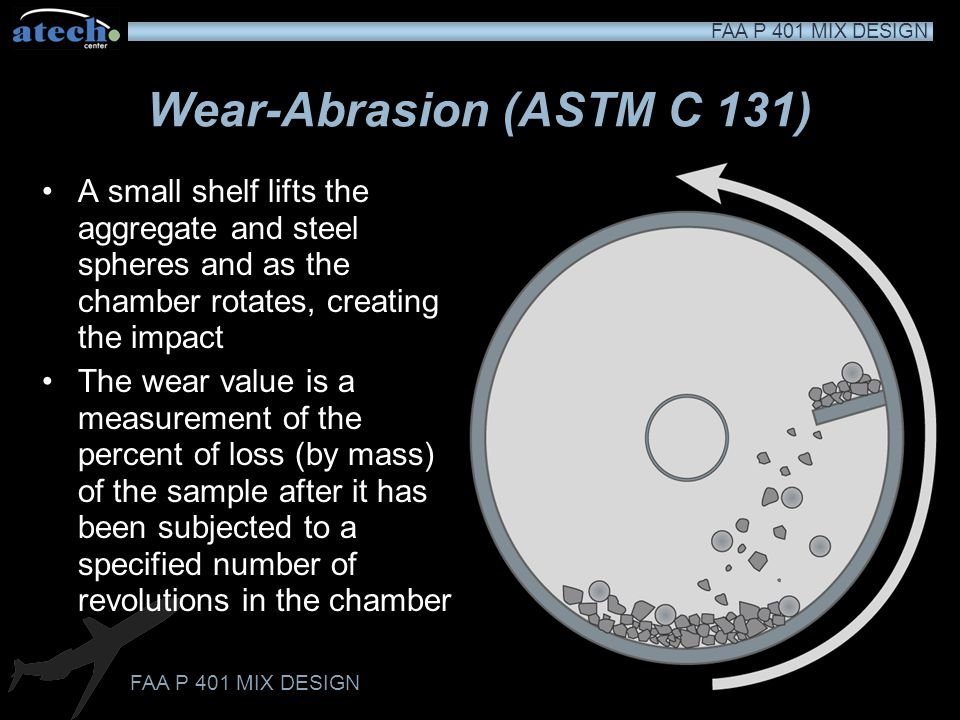 Wear-Abrasion (ASTM C 131) Measures the resistance to wearing as aggregate is subjected to impact and grinding Ensures that aggregate will not wear ex