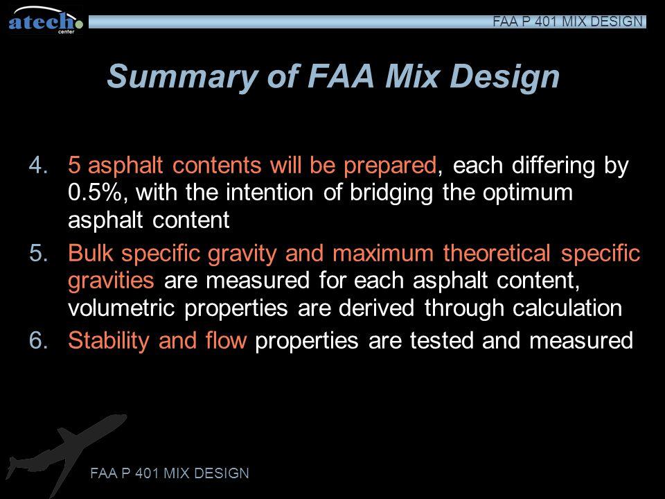 FAA P 401 MIX DESIGN Test PropertyAircraft Gross Weight ≥60,000 lbs Aircraft Gross Weight <60,000 lbs Number of Blows7550 Stability, minimum pounds (newtons) 2150 (9564)1350 (6005) Flow range, 0.01 in (0.25 mm) 10-1410-18 Air Voids, percent2.8-4.2 Percent VMA, minimum Dependent on maximum particle size of HMA mixture, see below 1/2 in (12.5 mm) maximum size 16 3/4 in (19.0 mm) maximum size 15 1 in (25.0 mm) maximum size 14 1 1/4 in (31.25 mm) maximum size 13