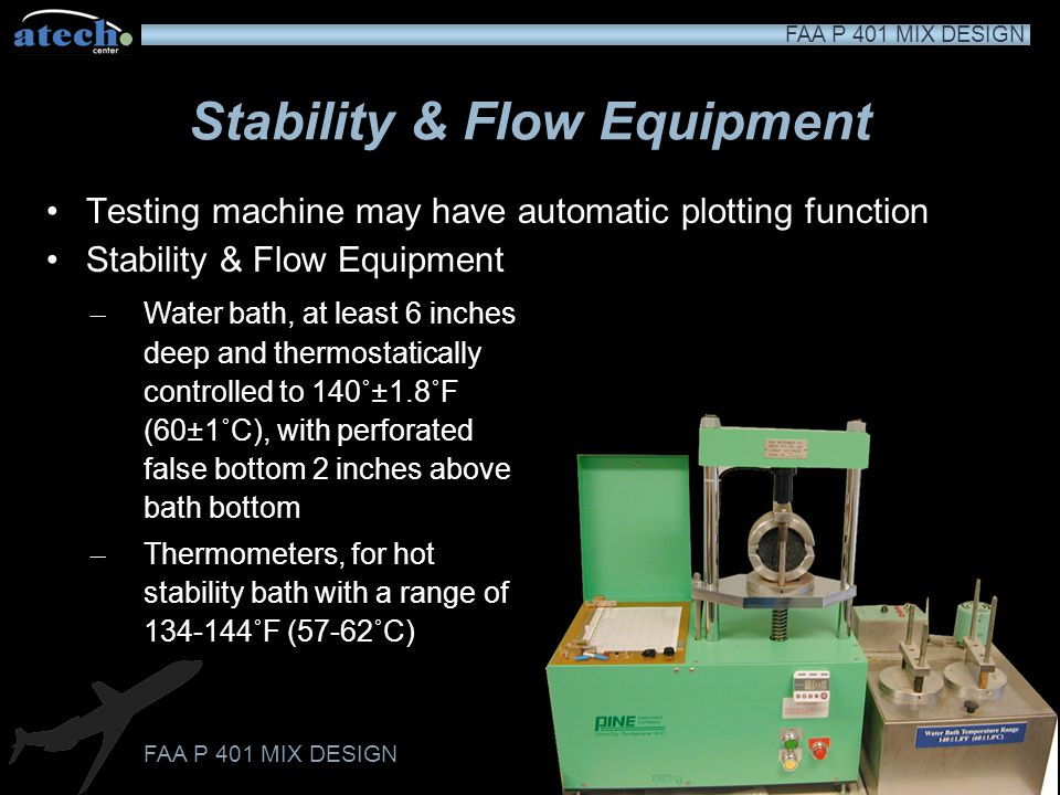FAA P 401 MIX DESIGN Stability & Flow Equipment Marshall stability press, electric powered and designed to apply loads to test specimens through semic