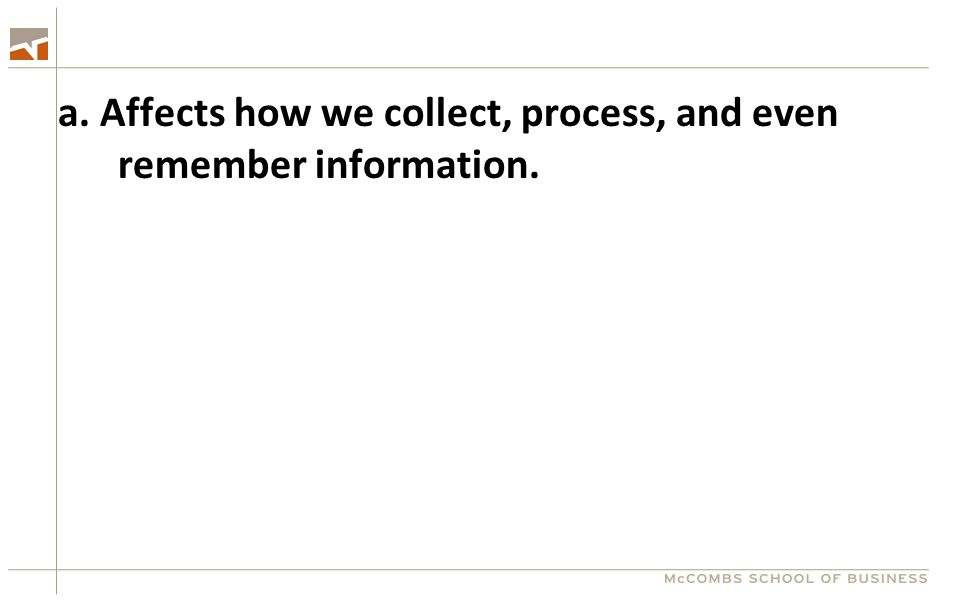 a. Affects how we collect, process, and even remember information.