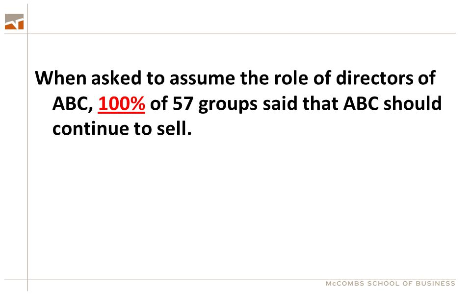 When asked to assume the role of directors of ABC, 100% of 57 groups said that ABC should continue to sell.