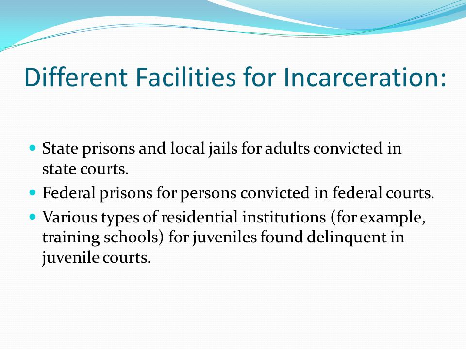 Different Facilities for Incarceration: State prisons and local jails for adults convicted in state courts.