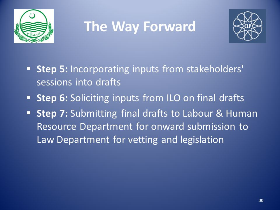 The Way Forward  Step 5: Incorporating inputs from stakeholders sessions into drafts  Step 6: Soliciting inputs from ILO on final drafts  Step 7: Submitting final drafts to Labour & Human Resource Department for onward submission to Law Department for vetting and legislation 30