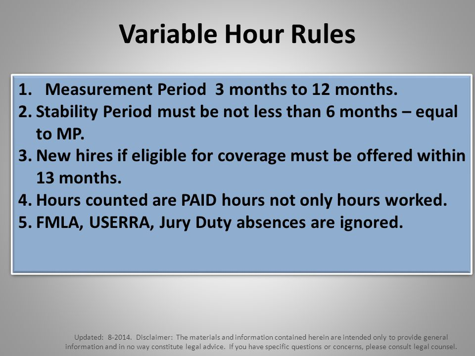 Variable Hour Rules Updated: 8-2014.