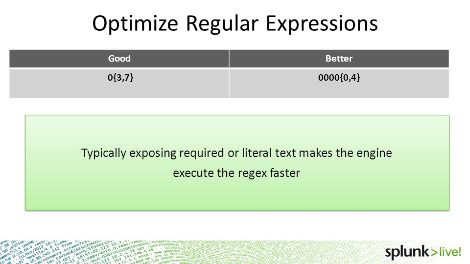 Optimize Regular Expressions GoodBetter 0{3,7}0000{0,4} Typically exposing required or literal text makes the engine execute the regex faster Typicall