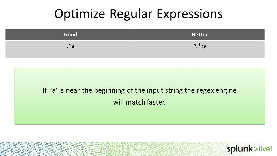 Optimize Regular Expressions GoodBetter.*a^.*?a If 'a' is near the beginning of the input string the regex engine will match faster. If 'a' is near th
