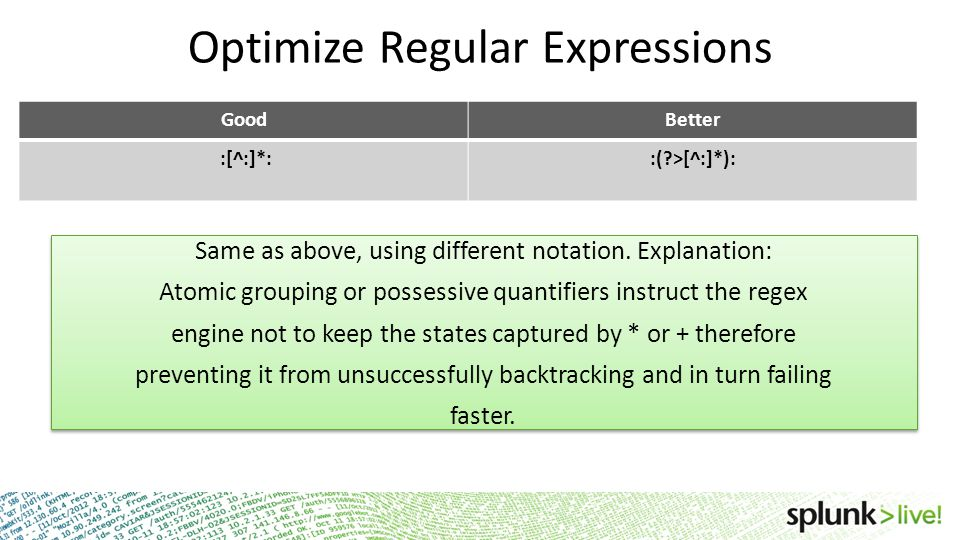Optimize Regular Expressions GoodBetter :[^:]*::(?>[^:]*): Same as above, using different notation. Explanation: Atomic grouping or possessive quantif
