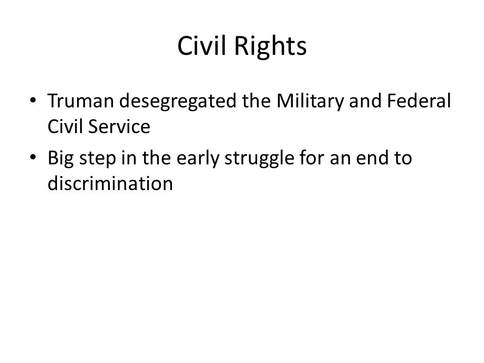 Incremental Civil Rights for African Americans 1946 Morgan v. Virginia- segregation in public interstate travel was unconstitutional 1950- Shelley v.