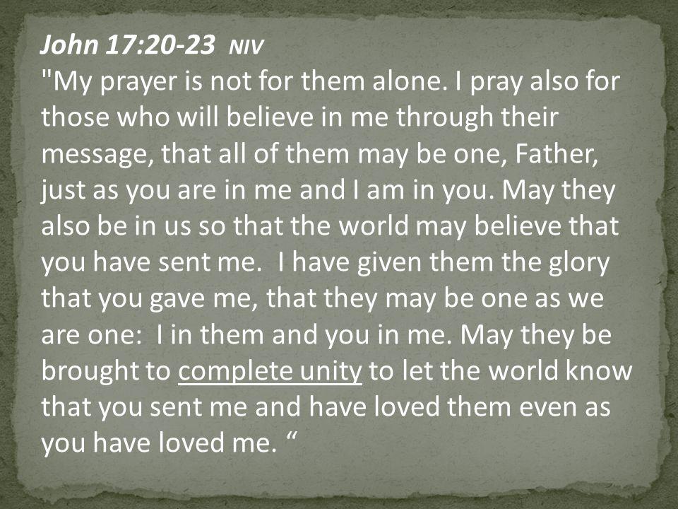 John 17:20-23 NIV My prayer is not for them alone.