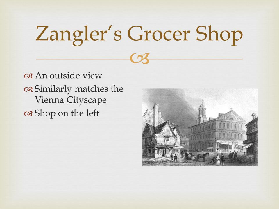   An outside view  Similarly matches the Vienna Cityscape  Shop on the left