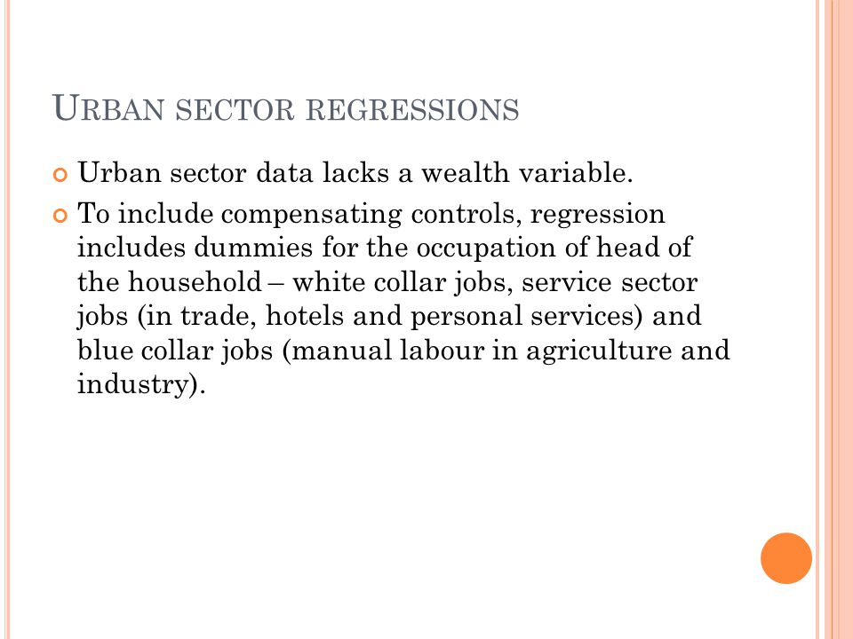 U RBAN SECTOR REGRESSIONS Urban sector data lacks a wealth variable.