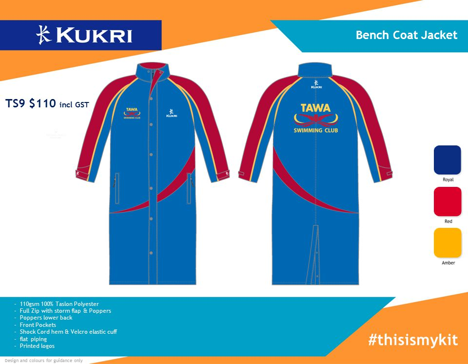 Design and colours for guidance only - 110gsm 100% Taslon Polyester - Full Zip with storm flap & Poppers - Poppers lower back - Front Pockets - Shock Cord hem & Velcro elastic cuff - flat piping - Printed logos Bench Coat Jacket #thisismykit TS9 $110 incl GST