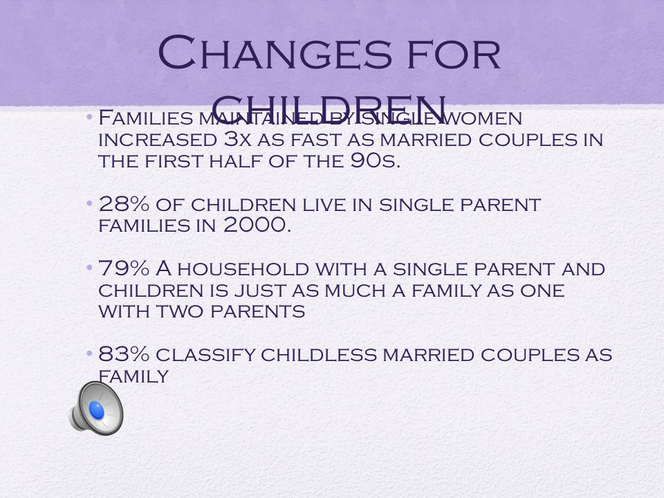 Changes for children Families maintained by single women increased 3x as fast as married couples in the first half of the 90s.