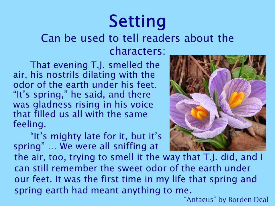 Setting Can be used to tell readers about the characters: That evening T.J.