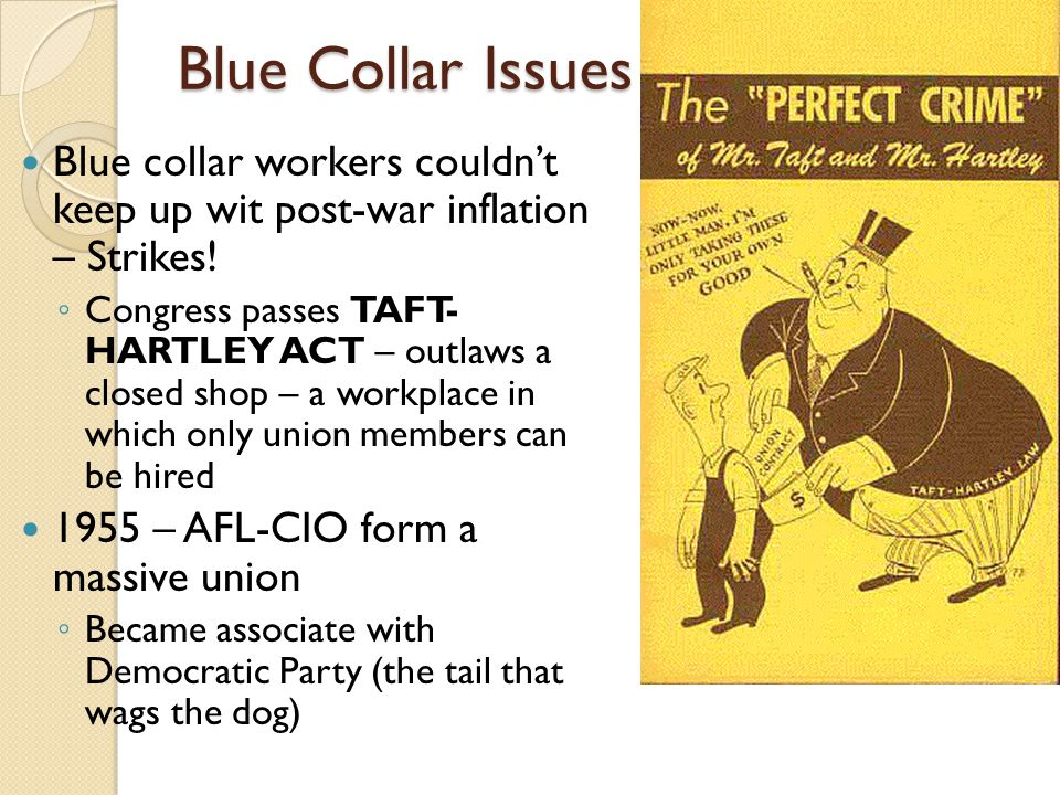 Blue Collar Issues Blue collar workers couldn't keep up wit post-war inflation – Strikes.