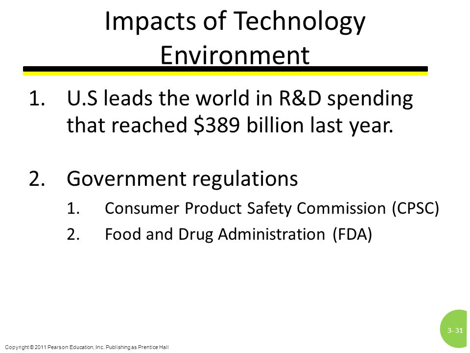 3-31 Copyright © 2011 Pearson Education, Inc. Publishing as Prentice Hall Impacts of Technology Environment 1.U.S leads the world in R&D spending that