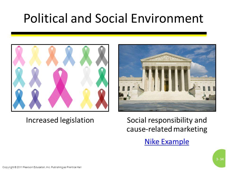 3-34 Copyright © 2011 Pearson Education, Inc. Publishing as Prentice Hall Political and Social Environment Increased legislationSocial responsibility