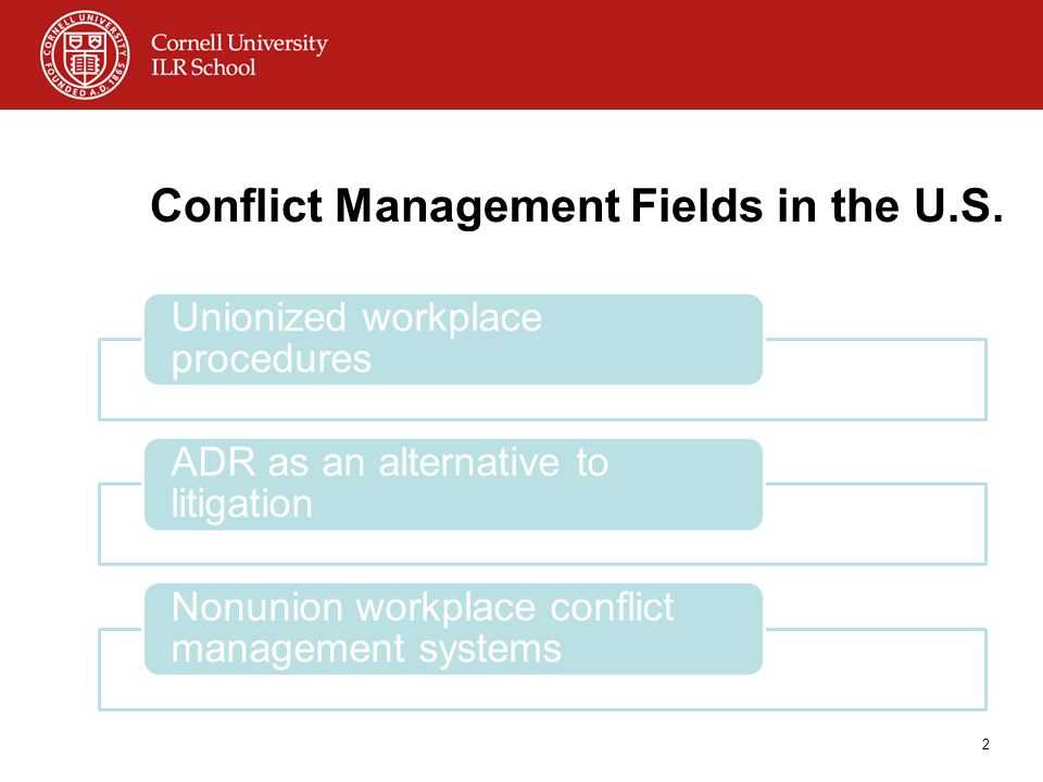 Conflict Management Fields in the U.S.
