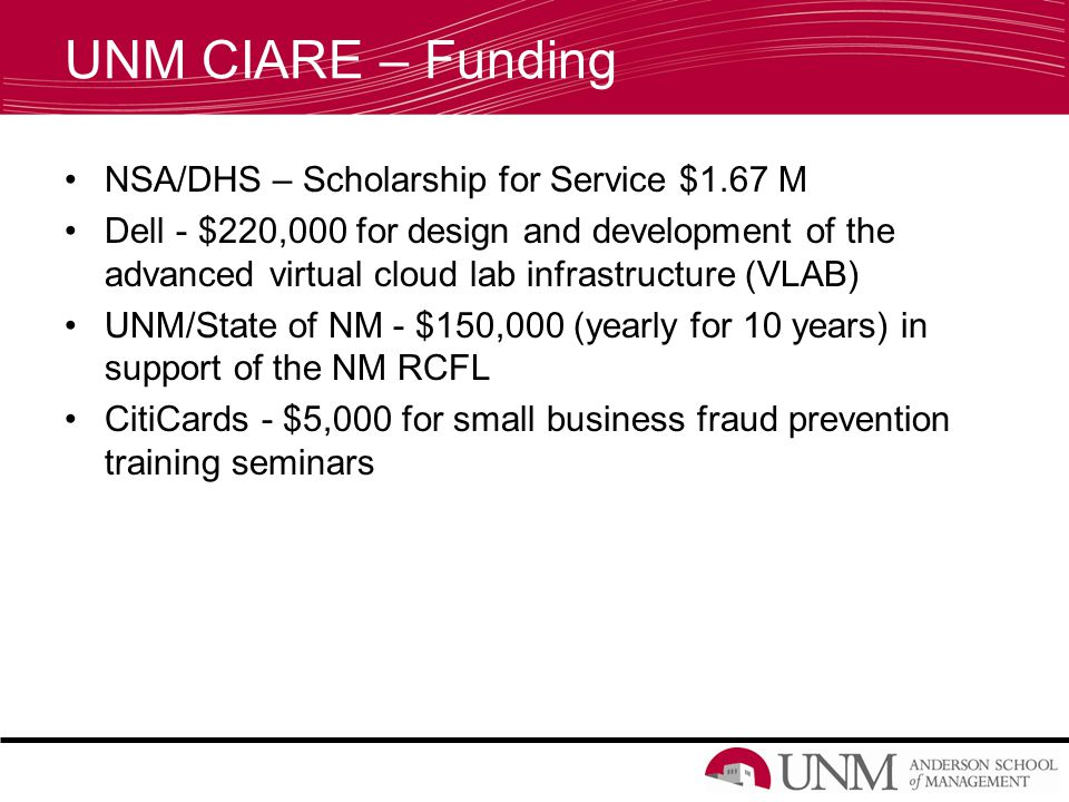 UNM CIARE – Funding NSA/DHS – Scholarship for Service $1.67 M Dell - $220,000 for design and development of the advanced virtual cloud lab infrastructure (VLAB) UNM/State of NM - $150,000 (yearly for 10 years) in support of the NM RCFL CitiCards - $5,000 for small business fraud prevention training seminars
