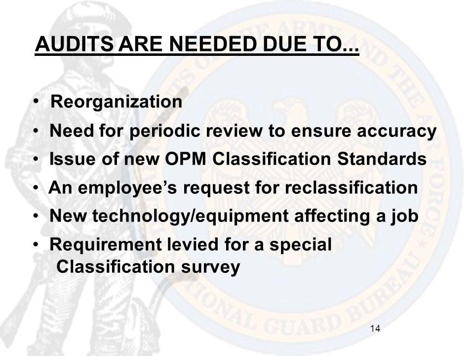 AUDITS ARE NEEDED DUE TO... Reorganization Need for periodic review to ensure accuracy Issue of new OPM Classification Standards An employee's request