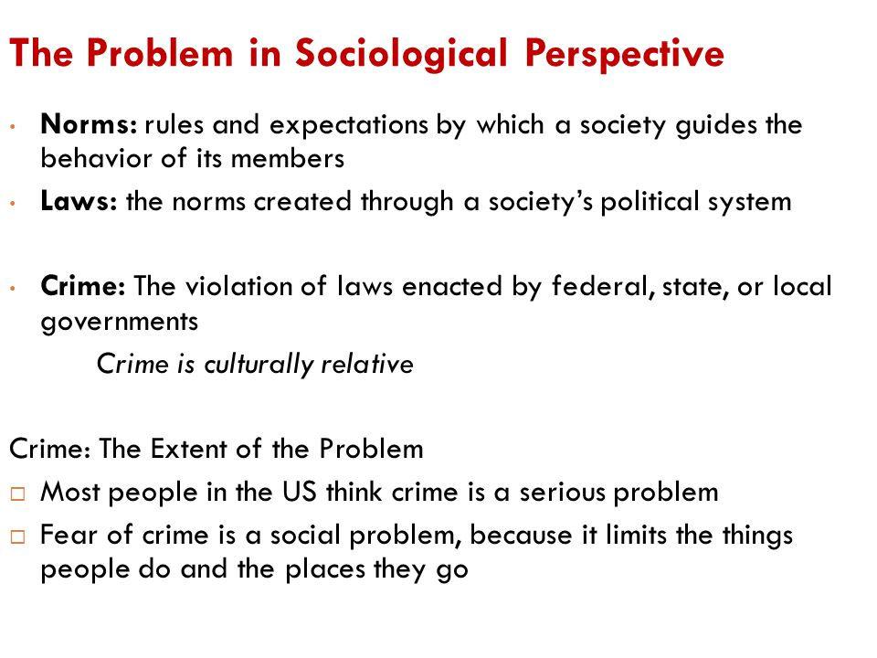 The Problem in Sociological Perspective Norms: rules and expectations by which a society guides the behavior of its members Laws: the norms created th
