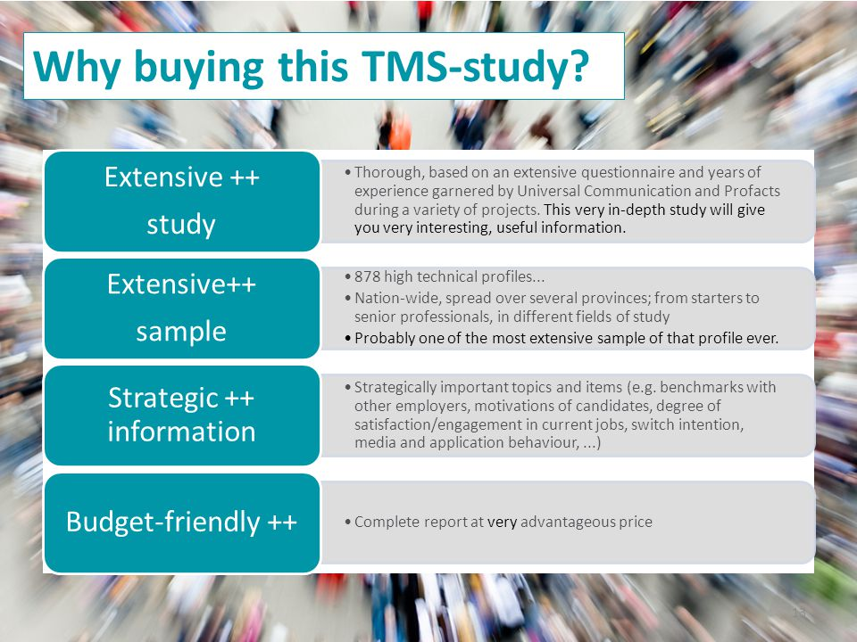 13 Why buying this TMS-study.