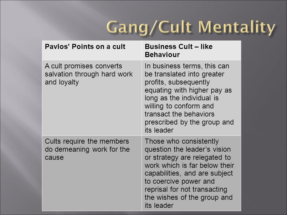 Pavlos Points on a cultBusiness Cult – like Behaviour A cult promises converts salvation through hard work and loyalty In business terms, this can be translated into greater profits, subsequently equating with higher pay as long as the individual is willing to conform and transact the behaviors prescribed by the group and its leader Cults require the members do demeaning work for the cause Those who consistently question the leader's vision or strategy are relegated to work which is far below their capabilities, and are subject to coercive power and reprisal for not transacting the wishes of the group and its leader