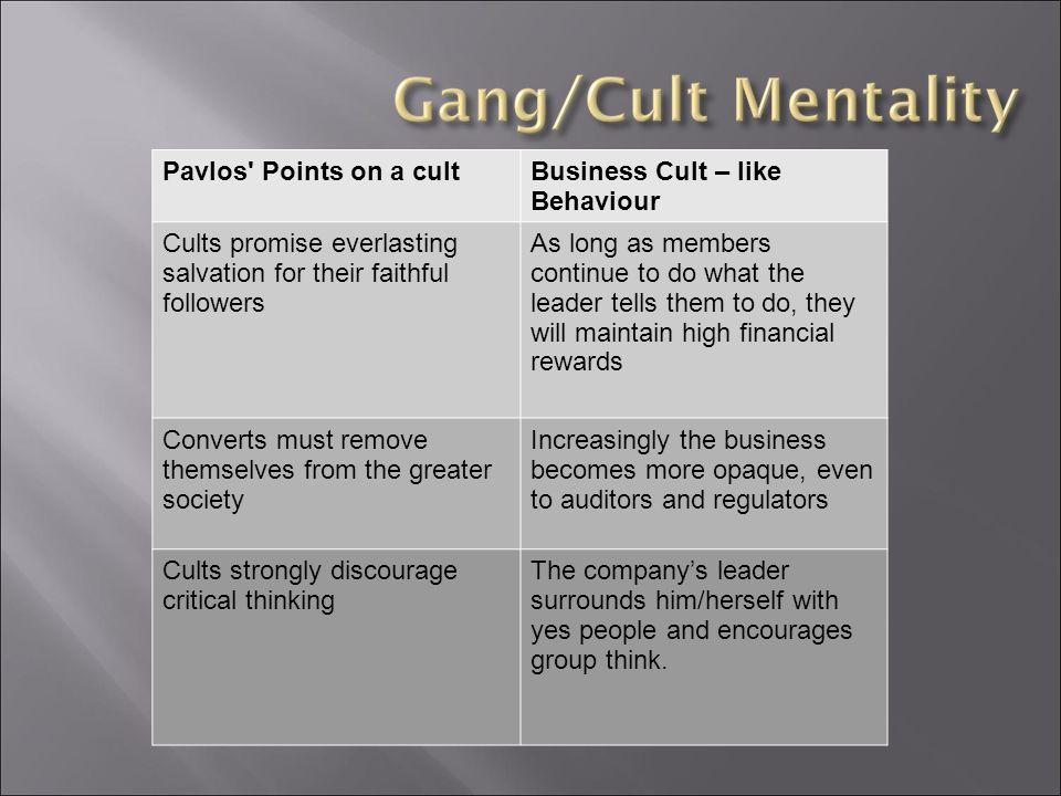 Pavlos Points on a cultBusiness Cult – like Behaviour Cults promise everlasting salvation for their faithful followers As long as members continue to do what the leader tells them to do, they will maintain high financial rewards Converts must remove themselves from the greater society Increasingly the business becomes more opaque, even to auditors and regulators Cults strongly discourage critical thinking The company's leader surrounds him/herself with yes people and encourages group think.