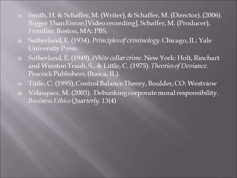  Smith, H. & Schaffer, M. (Writer), & Schaffer, M.