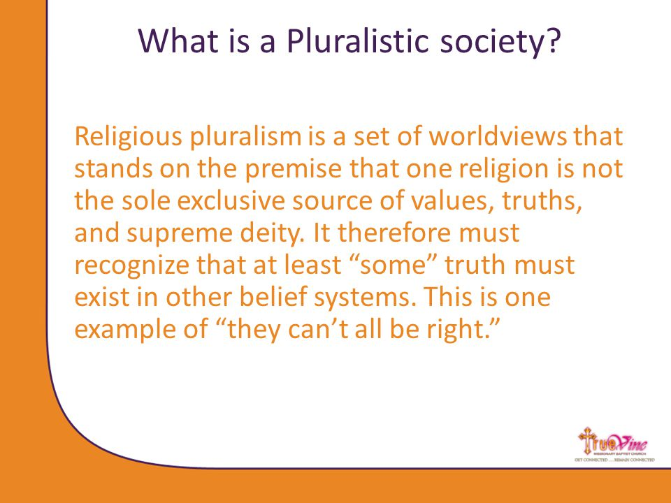 What is a Pluralistic society.