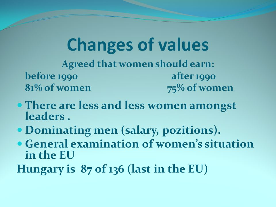 Changes of values Agreed that women should earn: before 1990 after 1990 81% of women 75% of women There are less and less women amongst leaders. Domin