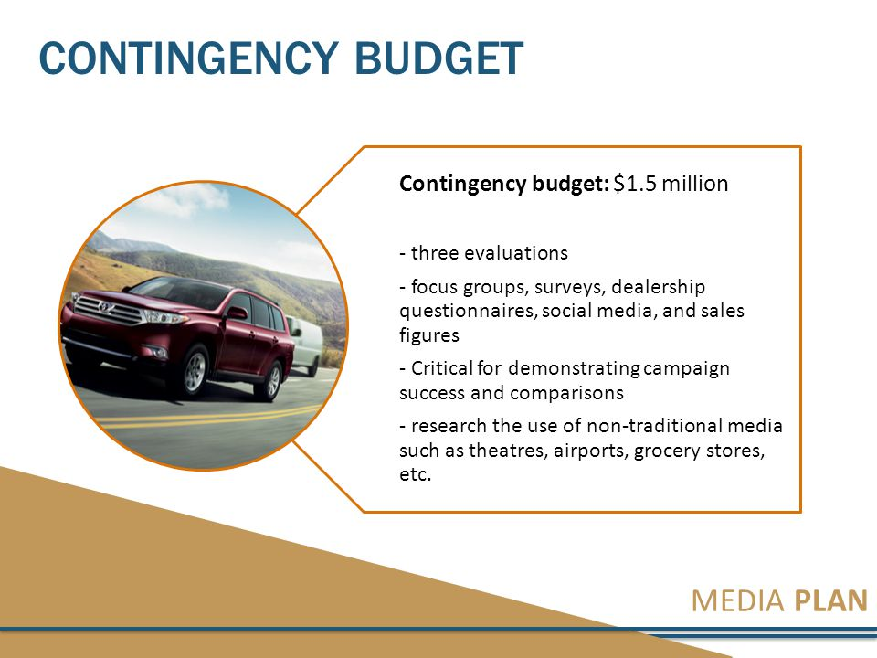 MEDIA PLAN CONTINGENCY BUDGET Contingency budget: $1.5 million - three evaluations - focus groups, surveys, dealership questionnaires, social media, and sales figures - Critical for demonstrating campaign success and comparisons - research the use of non-traditional media such as theatres, airports, grocery stores, etc.