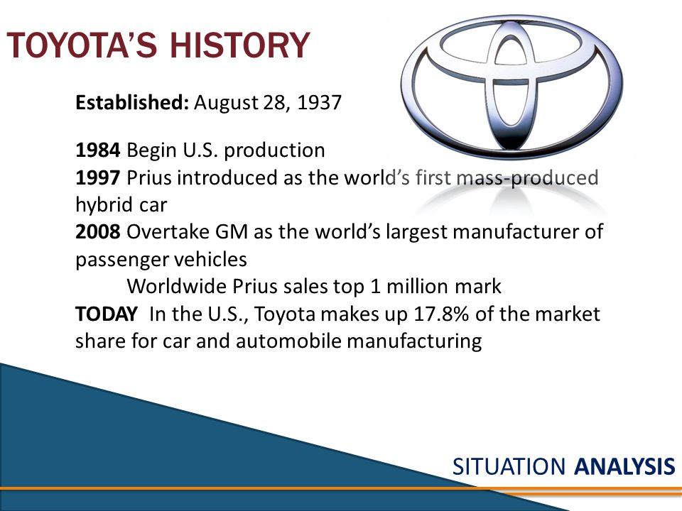 SITUATION ANALYSIS TOYOTA'S HISTORY Established: August 28, 1937 1984 Begin U.S.