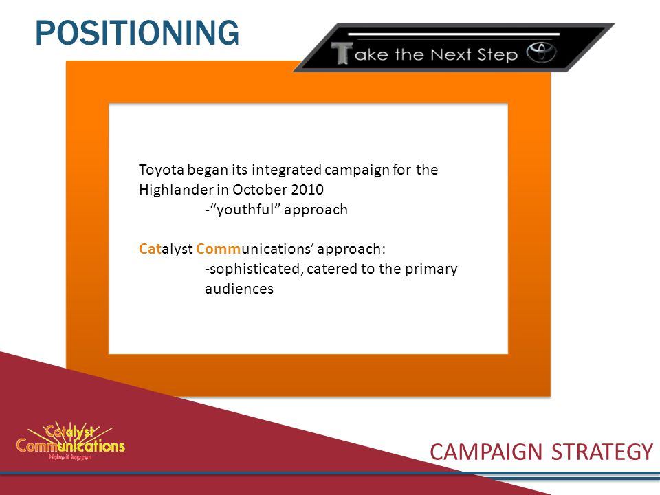 CAMPAIGN STRATEGY POSITIONING Toyota began its integrated campaign for the Highlander in October 2010 - youthful approach Catalyst Communications' approach: -sophisticated, catered to the primary audiences
