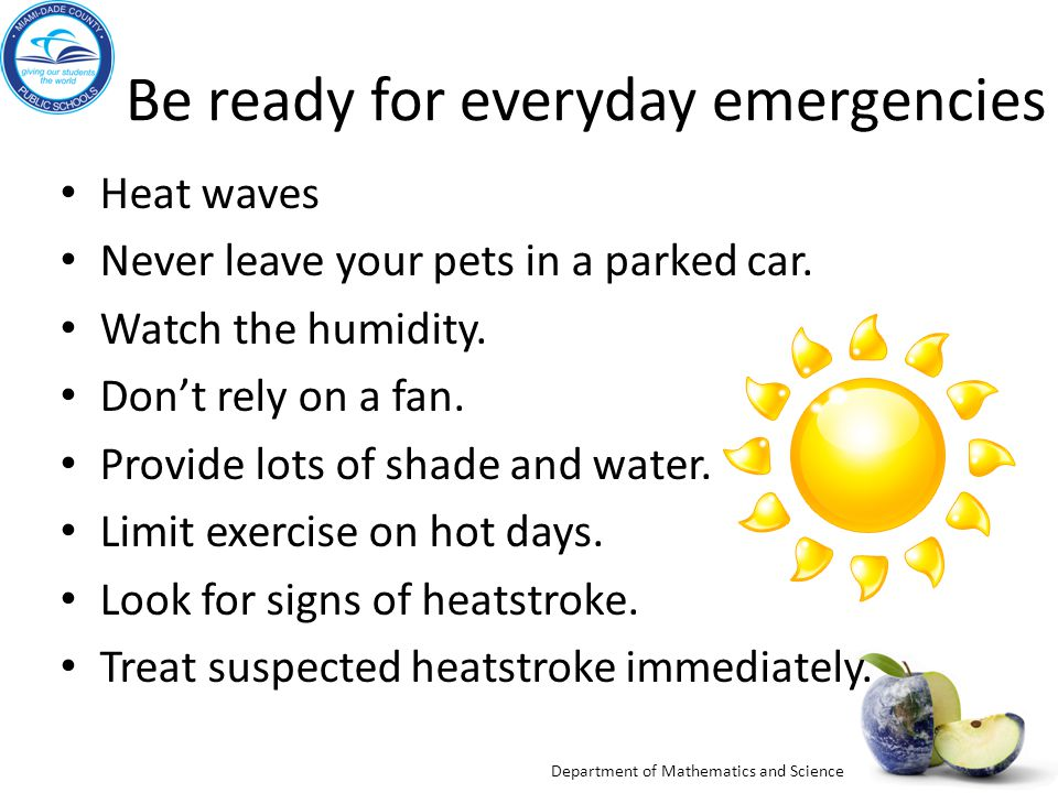 Department of Mathematics and Science Be ready for everyday emergencies Heat waves Never leave your pets in a parked car. Watch the humidity. Don't re