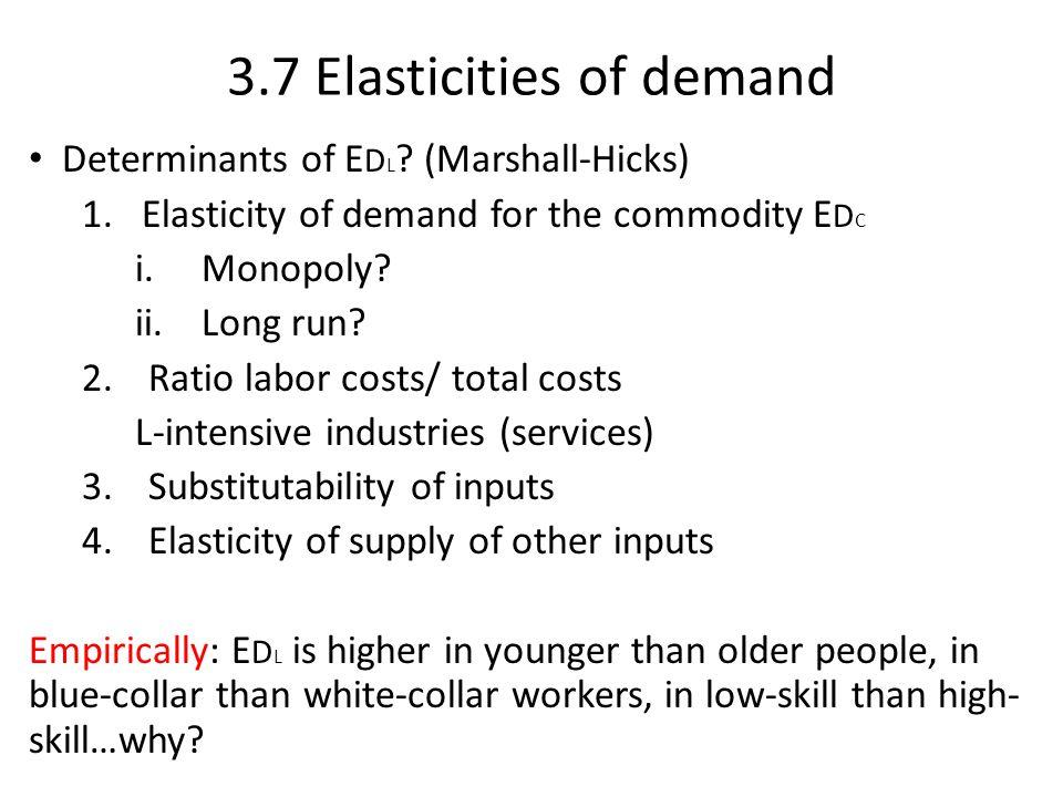 3.7 Elasticities of demand Determinants of E D L ? (Marshall-Hicks) 1.Elasticity of demand for the commodity E D C i.Monopoly? ii.Long run? 2.Ratio la