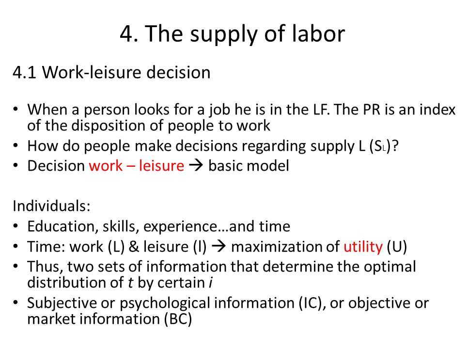 4. The supply of labor 4.1 Work-leisure decision When a person looks for a job he is in the LF.