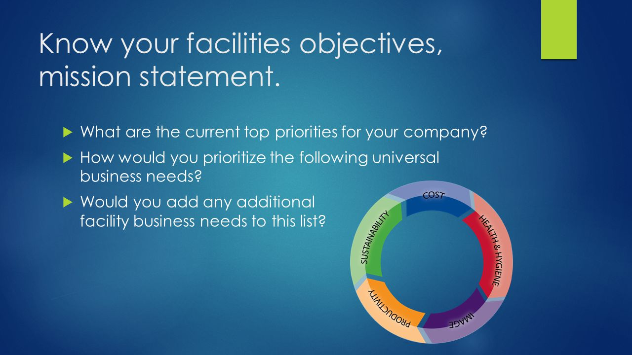 Know your facilities objectives, mission statement.  What are the current top priorities for your company?  How would you prioritize the following u