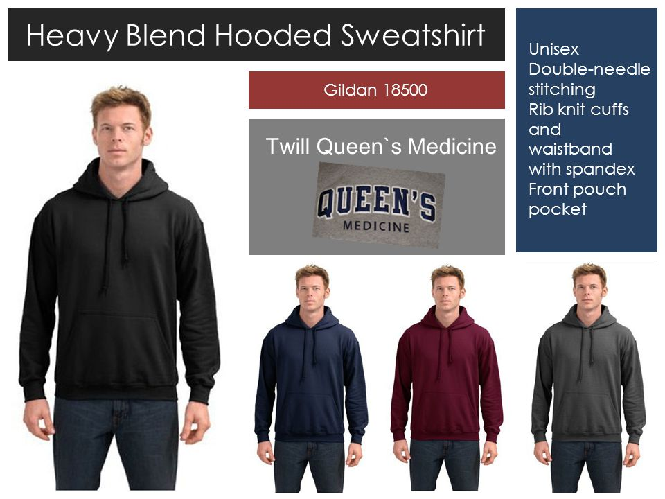 Heavy Blend Hooded Sweatshirt Unisex Double-needle stitching Rib knit cuffs and waistband with spandex Front pouch pocket Twill Queen`s Medicine Gildan 18500
