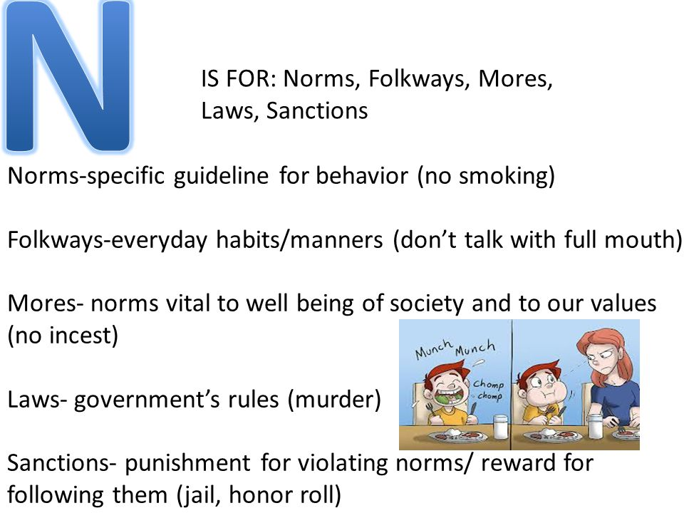 IS FOR: Norms, Folkways, Mores, Laws, Sanctions Norms-specific guideline for behavior (no smoking) Folkways-everyday habits/manners (don't talk with full mouth) Mores- norms vital to well being of society and to our values (no incest) Laws- government's rules (murder) Sanctions- punishment for violating norms/ reward for following them (jail, honor roll)
