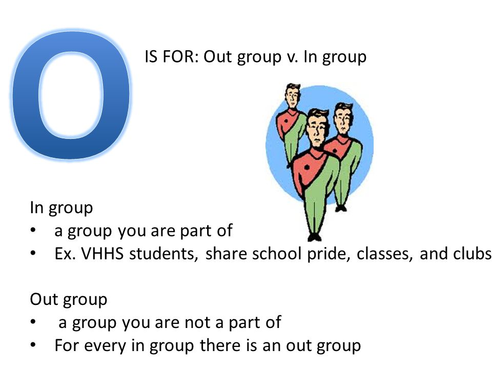 IS FOR: Out group v. In group In group a group you are part of Ex.