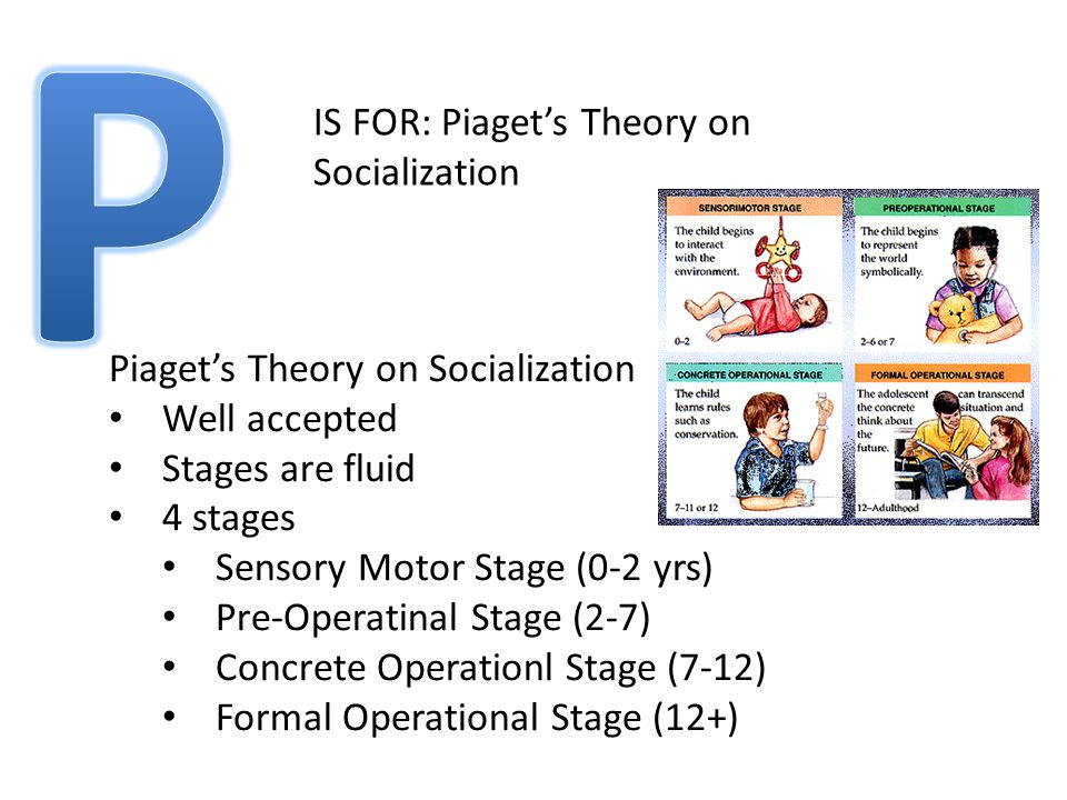IS FOR: Piaget's Theory on Socialization Piaget's Theory on Socialization Well accepted Stages are fluid 4 stages Sensory Motor Stage (0-2 yrs) Pre-Operatinal Stage (2-7) Concrete Operationl Stage (7-12) Formal Operational Stage (12+)