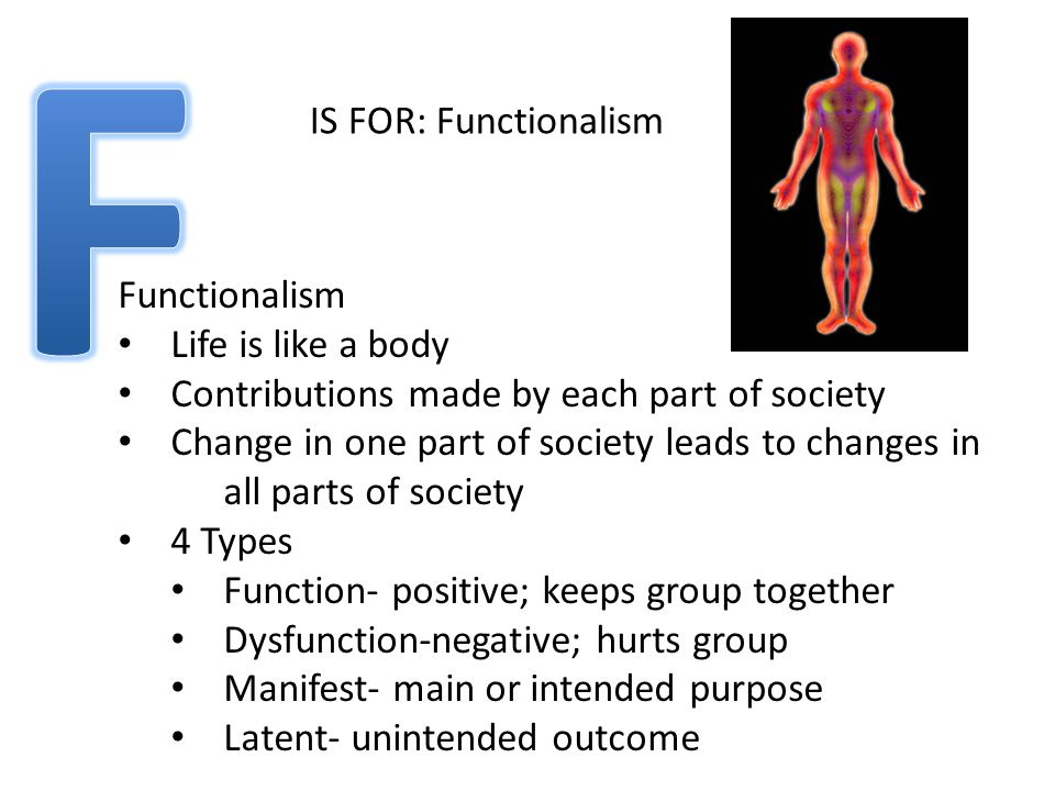 IS FOR: Functionalism Functionalism Life is like a body Contributions made by each part of society Change in one part of society leads to changes in all parts of society 4 Types Function- positive; keeps group together Dysfunction-negative; hurts group Manifest- main or intended purpose Latent- unintended outcome