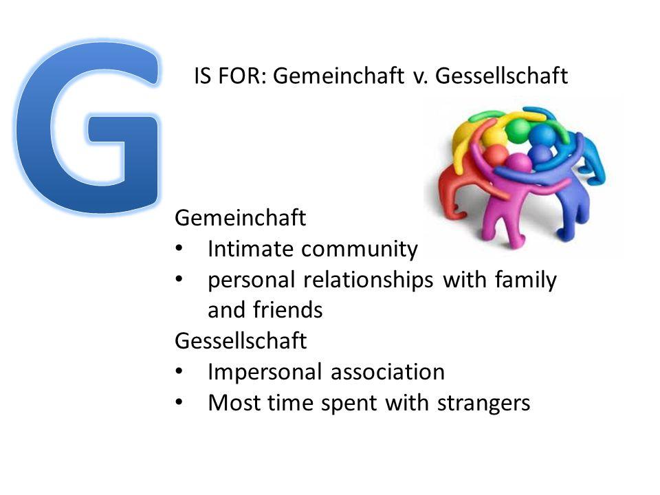 IS FOR: Gemeinchaft v.