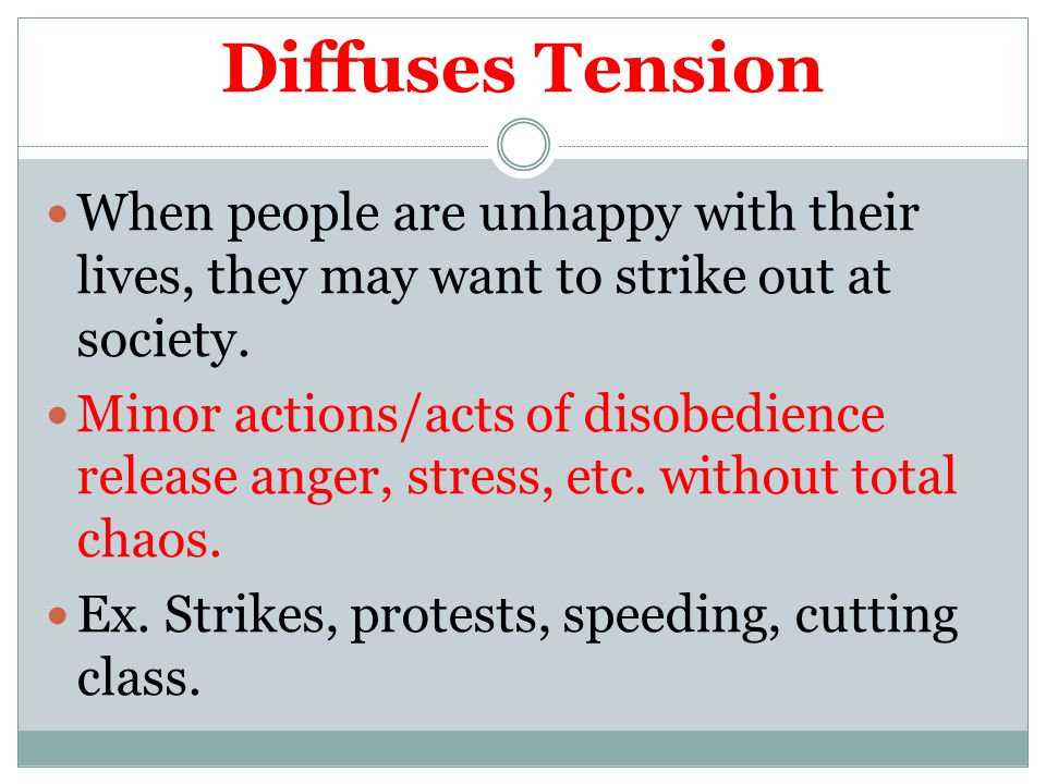 Diffuses Tension When people are unhappy with their lives, they may want to strike out at society. Minor actions/acts of disobedience release anger, s