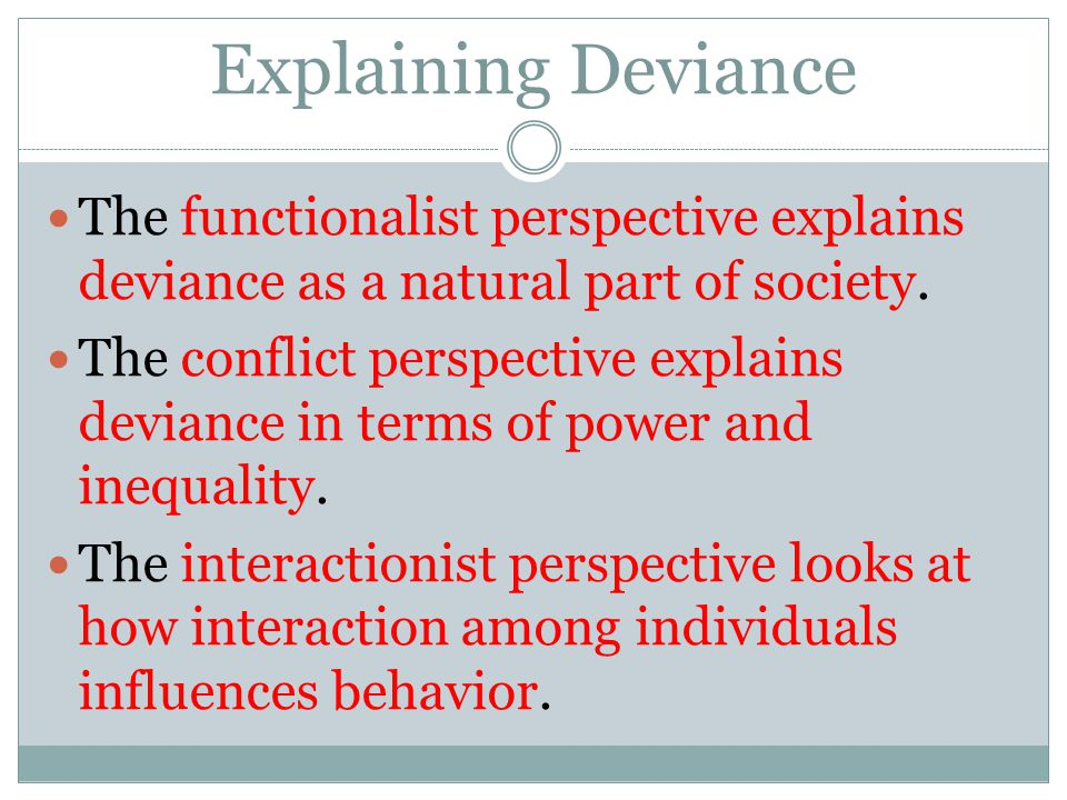 Explaining Deviance The functionalist perspective explains deviance as a natural part of society. The conflict perspective explains deviance in terms